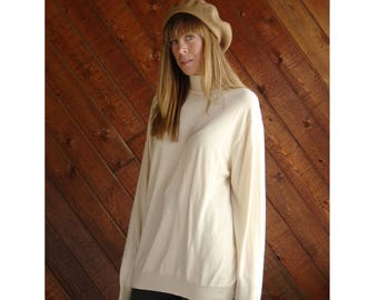 Vanilla Silk 90s Turtleneck Sweater Tunic - Vintage - L