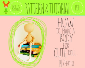 PDF Cloth Doll Pattern, Doll Making, Doll Body, Doll Sewing Pattern, Cloth Doll Tutorial, DIY Doll, Rag Doll Pattern, Soft Doll Pattern