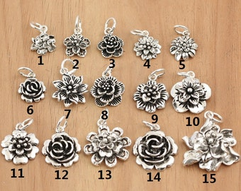 925 Sterling  Silver flower charms, antique silver flower charms sterling silver flower charm