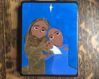 4 X 6 The Nativity Byzantine Folk style icon on wood by DL Sayles