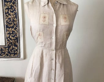 Vintage Tan Sleeveless Floral Embroidered Button Market Dress - Medium