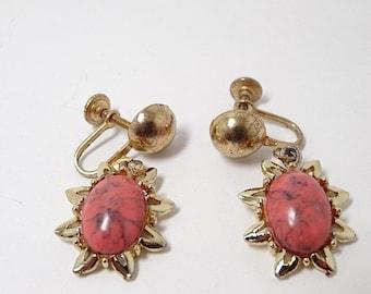 Vintage Faux Coral Matrix Screw Back Dangle Earrings - Vintage Earrings - Orange Earrings - Vintage Jewelry