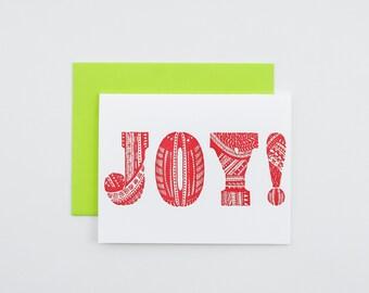 Greeting card joy square celebratory card thank you card pattern holiday letterpress card joy christmas card samoan art m4hsunfo