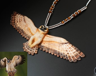 Strix leptogrammica Asian-Brown-Wood-Owl (Strix leptogrammica) Realistic owl necklace from polymer clay
