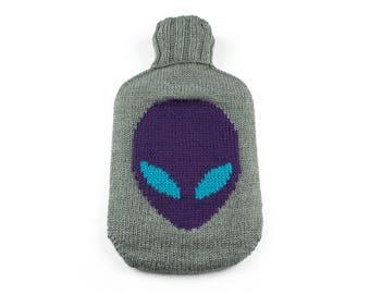 Alien Head Hand Knit Hot Water Bottle Cover