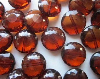 Brown Transparent Acrylic Coin Beads 20mm 14 Beads
