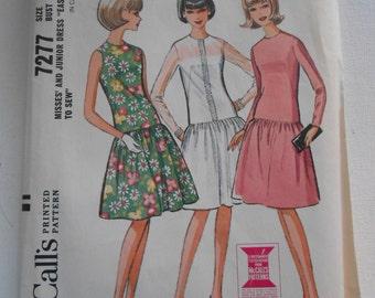 Vintage 60s McCalls 7277 Mod Drop Waist Summer Dress Sewing Pattern Size 12 Bust 32