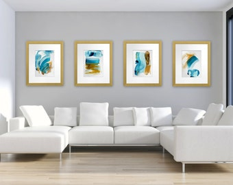 Digital Print Set of 4, Abstract Mixed Media Paintings, Modern Beach House Decor, Instant Download, Contemporary Coastal Interior Design
