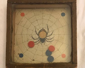 Antique Spider And The Fly Victorian Handheld Dexterity Game By Waverly Toy Works 1889