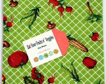 """Eat Your Fruits n' Veggies Layer Cake - (42) 10"""" x 10"""" squares - 43000LC - Cotton Fabric - by Pat Sloan for Moda Fabrics (W1435)"""