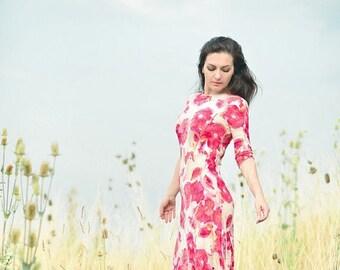 Maxi Dress, Jersey Dress, Floral Dress, Poppy Dress