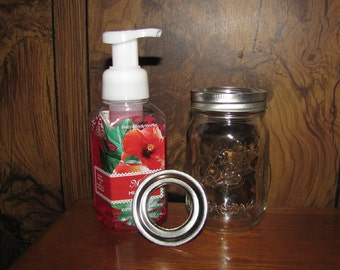 Bath and Body Works Foaming Hand Soap to Mason Jar Conversion LID (Regular or Wide LID)