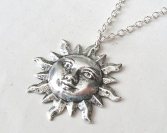 Silver sun necklace sunshine necklace you are my sunshine silver sun face necklace sun necklace with sterling silver or silver plated chain mozeypictures Choice Image