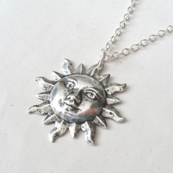 Face Pendant Silver sun face necklace sun necklace with sterling silver or audiocablefo
