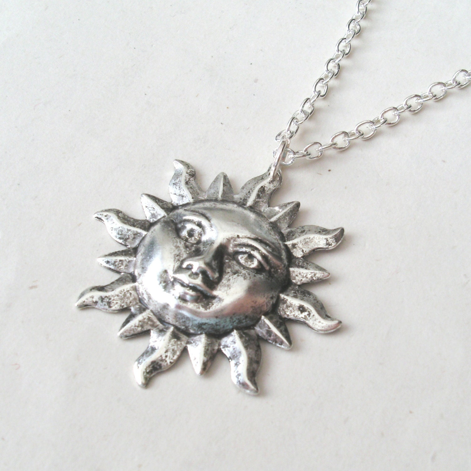 Silver sun face necklace sun necklace with sterling silver or zoom mozeypictures Images