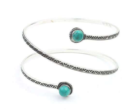 Turquoise Arm Cuff, Spiral Upper Arm Band, Wire Wrap Armlet, Festival, Gypsy, Boho, Bohemian, Belly Dancer Jewelry, Hippie