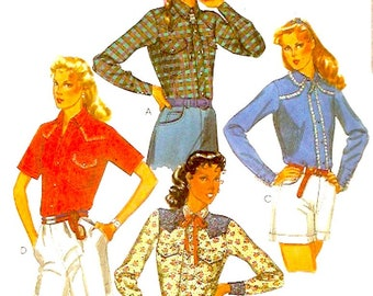 Womens western shirts southwestern Ladies Cowgirl 80s Palmer Pletsch vintage sewing pattern McCalls 7544 Sz 12