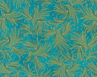 Valley of the Kings Fans Aqua Gold Kaufman Fabric 1 yard
