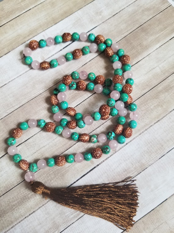 Mala from the Heart: Reiki Attuned Rose Quartz and Turquoise Howlite, heart chakra mala, 108 mala, 109 mala, bobo necklace, tassel necklace