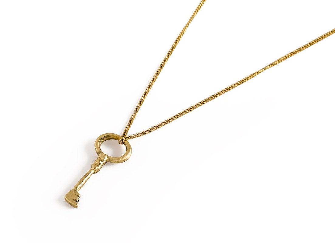 14K Gold Key Charm Solid Gold Key Pendant Key Necklace the