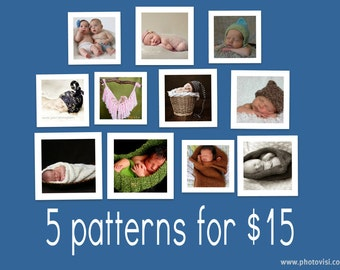 """5 for 15: Choose Any 5 Knitting Patterns for 15 Dollars -- Special """"Buy-the-Book"""" Deal"""