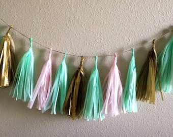 Mint Tassle Garland - 6 ft tissue Paper garland-