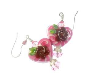 Floral Heart Lampwork Earrings, Chocolate Glass Bead Earrings, Valentine Beadwork Earrings, Glass Bead Jewelry, Lampwork Jewelry
