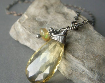 Lemon Quartz Necklace, Oxidized Sterling Silver, Large Wirewrapped AAA Briolette Gemstone Pendant with Genuine Ethiopian Opal