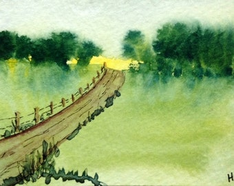 Original Watercolor ACEO Art Card, Farm Road in Summer, Pastures