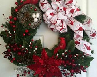 Cardinal Wreath, Winter Wreath, Evergreen Poinsettia wreath