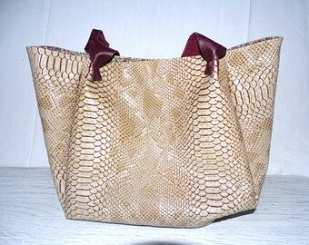 Handmade faux leather beige comodo - ball bag large tote