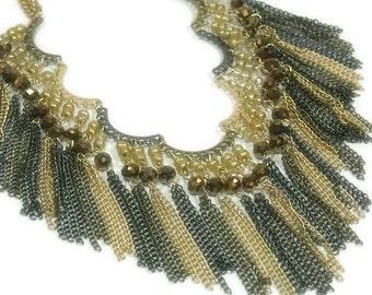 Beaded Fringe Necklace, Statement, Southwest Boho Scalloped Fringe Necklace, Two Tone Chain and Crystal Fringe Necklace Set, Bohemian