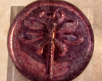 Dragonfly Coin Beads, Purple, Bronze Luster, 23 MM, 2 Pieces C487