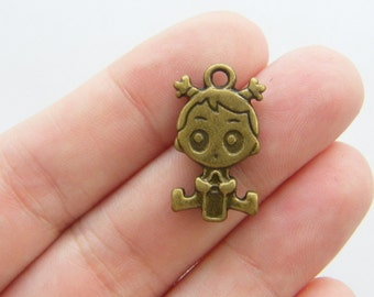 6 Baby girl charms antique bronze tone BC63