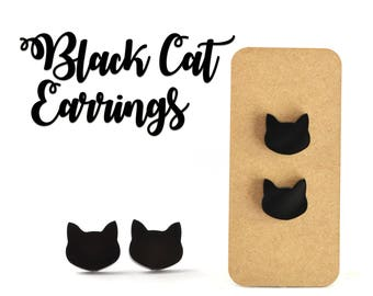 Black Cat Earrings 10mm Laser Cut Acrylic With Nickel Free Surgical Steel Studs