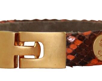 Python Bracelet, Python Cuff, BAJ 496 G Orange