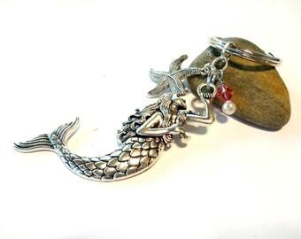 Mermaid Keychain, Mermaid Gift, Mermaid Accessories, Mermaid Key Chain, Mermaid Key Fob, Crystal Keychain W/ Pink Swarovski Crystal, Mermaid