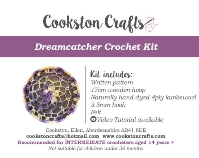 Crochet Kit - Dreamcatcher DIY kit with detailed video tutorial - with hand dyed yarn
