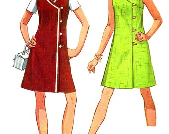 1960s Dress Pattern Jiffy Simplicity Sleeveless Collarless V Neck Vintage Sewing Women's Misses Size 14 Bust 36 Inches