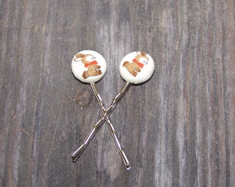 Old Fashion Bunny Button Earrings or Bobby Pins