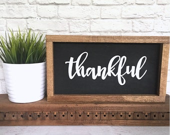 Thankful Hand Painted Wood Sign