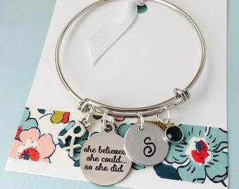 Pharmacist Bracelet, Pharmacy School Graduate, Silver,  She believed she could so she did, Adjustable bracelet, Silver Bangle Bracelet