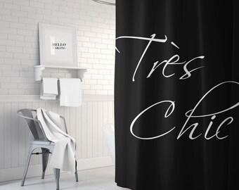 Black and White Tres Chic Shower Curtain, Paris Bathroom Decor, Black Bath Curtain, Standard or Extra Long