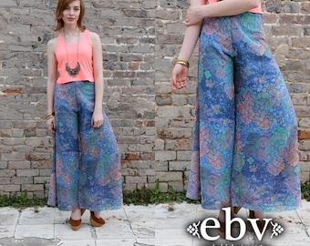 1970s Pants Hippie Pants Hippy Pants Wide Leg Pants High Waisted Pants 70s Pants Vintage 70s Mosaic Floral Bell Bottoms Palazzo Pants S M