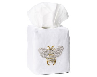 Hand Embroidered Bumble Bee - Linen Tissue Box Cover