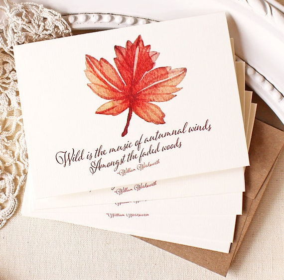 Autumn Leaf Note Card Set Fall Notecards Wordsworth Quote
