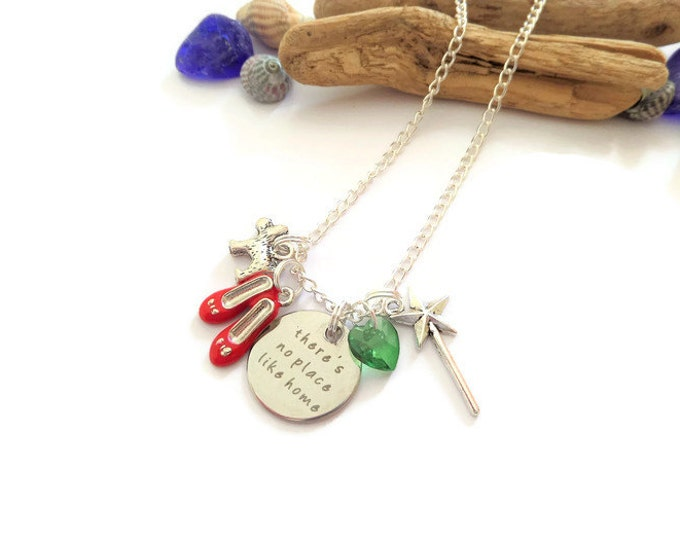 "WIZARD of OZ inspired 20mm tag inspired 20"" silver plated necklace Red Shoes No place like home fan gift UK"