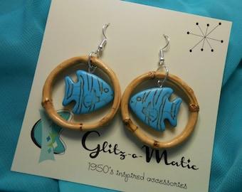 1950s style tiki bamboo blue fish earrings Glitz-o-Matic glitzomatic