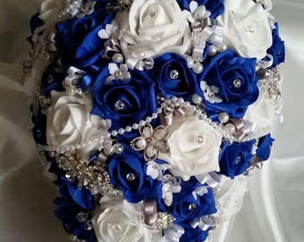Royal blue and white jewelled bridal teardrop bouquet