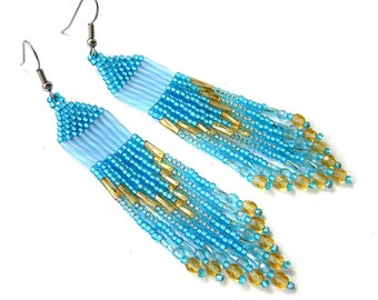 Blue beaded earrings Seed bead earrings Long dangle earrings Fringe beaded earrings Seed bead jewelry Beadwoven earrings Long boho earring